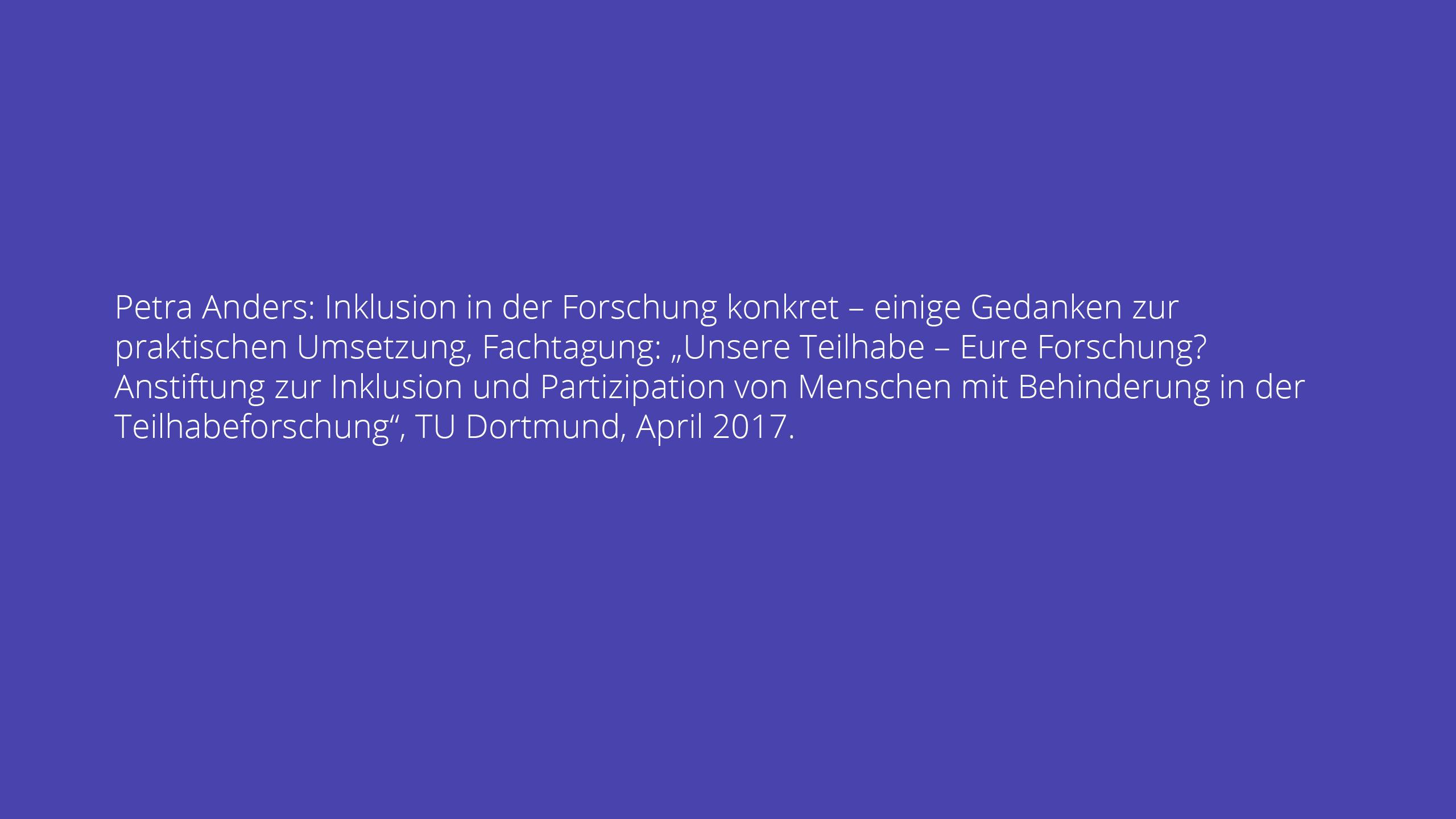 Petra Anders: Inklusion in der Forschung konkret – einige Gedanken zur praktischen Umsetzung