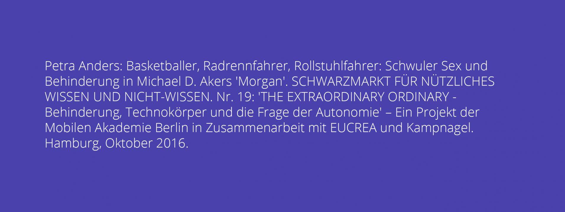 Petra Anders: Basketballer, Radrennfahrer, Rollstuhlfahrer: Schwuler Sex und Behinderung in Michael D. Akers 'Morgan'.