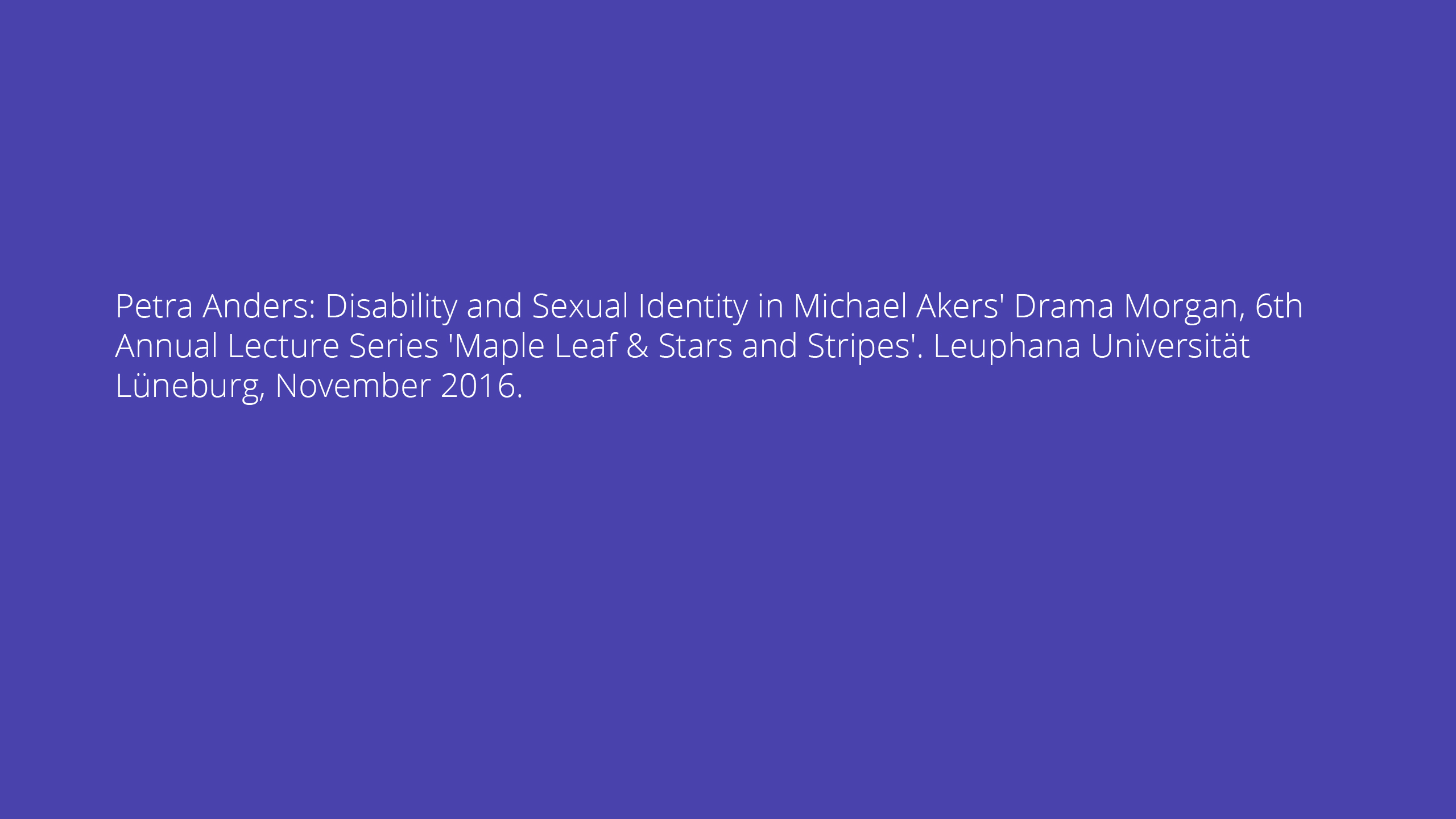 Petra Anders: Disability and Sexual Identity in Michael Akers' Drama Morgan