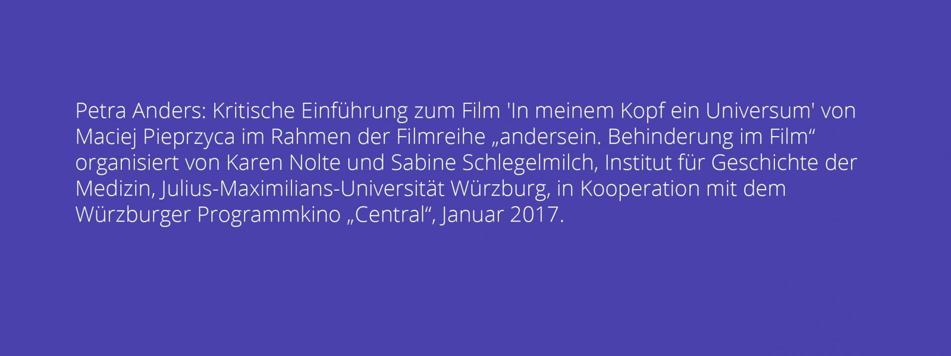 Petra Anders: Kritische Einführung zum Film 'In meinem Kopf ein Universum' von Maciej Pieprzyca