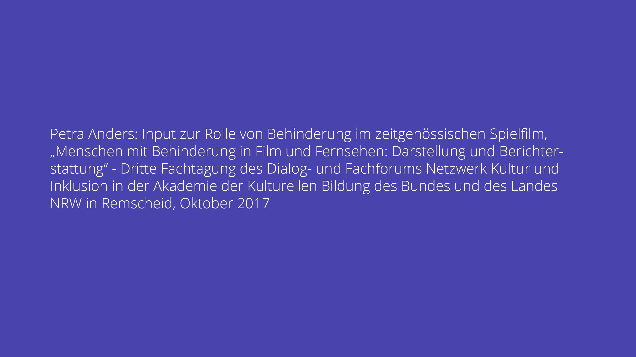 Vortrag: Input zur Rolle von Behinderung im zeitgenössischen Spielfilm