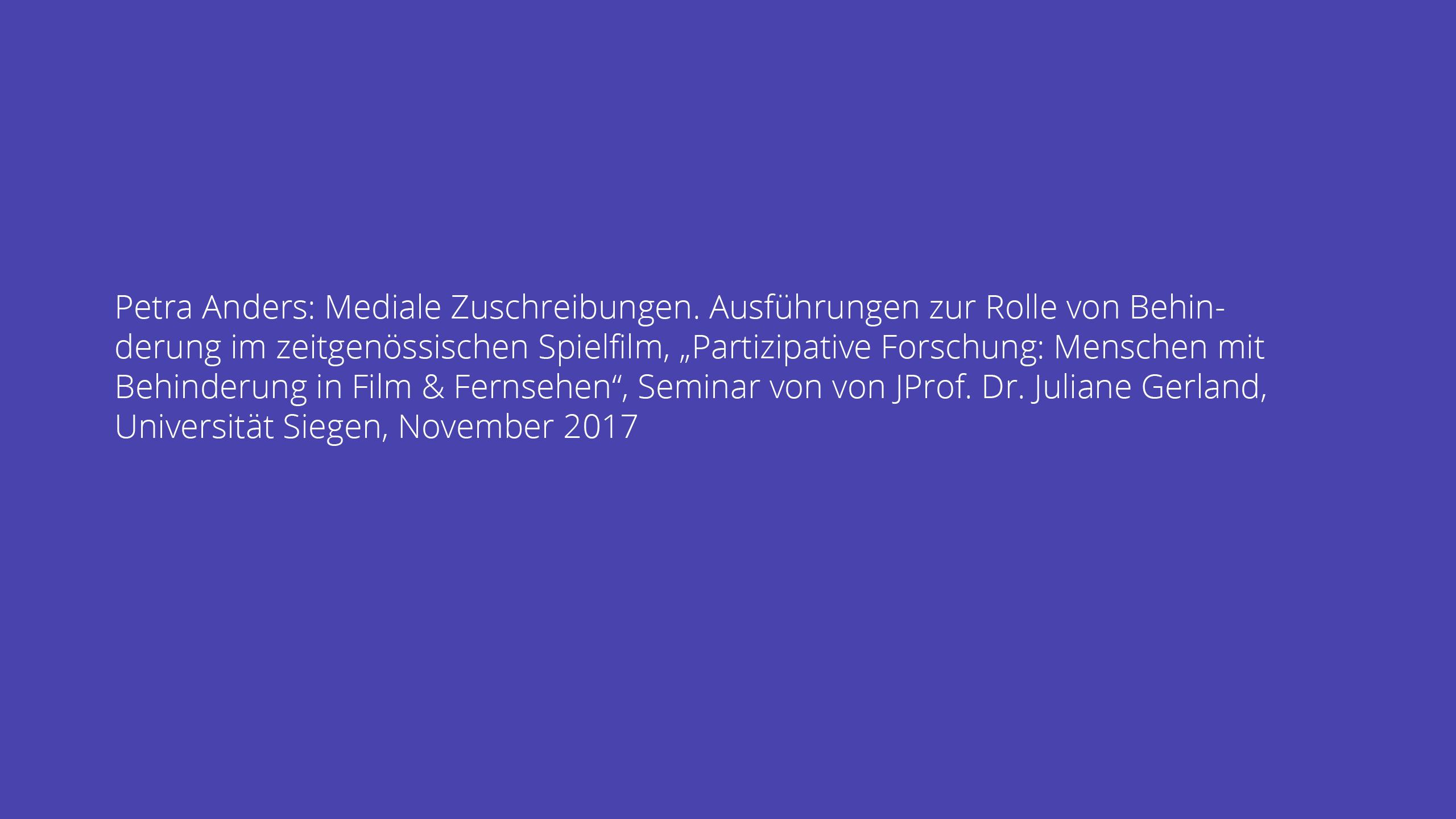 Mediale Zuschreibungen. Ausführungen zur Rolle von Behinderung im zeitgenössischen Spielfilm
