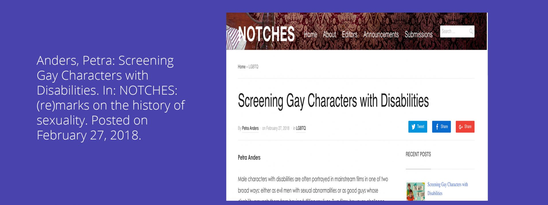 Anders, Petra: Screening Gay Characters with Disabilities. In: NOTCHES: (re)marks on the history of sexuality. Posted on February 27, 2018.